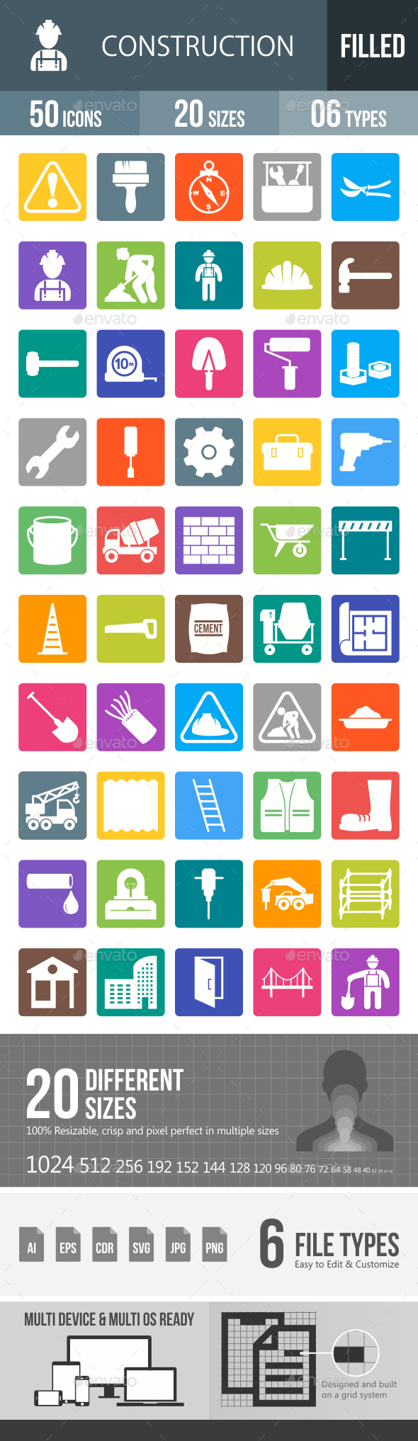 Construction Glyph Inverted Icons - Icons