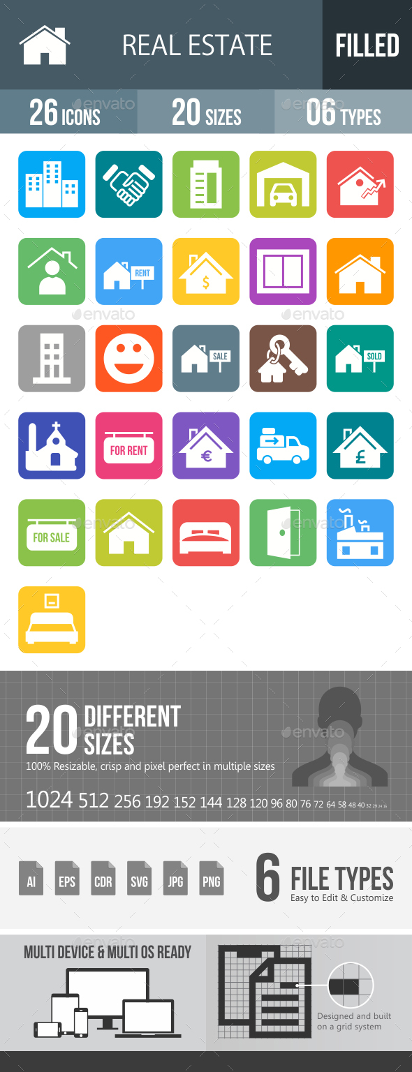 Real Estate Glyph Inverted Icons - Icons