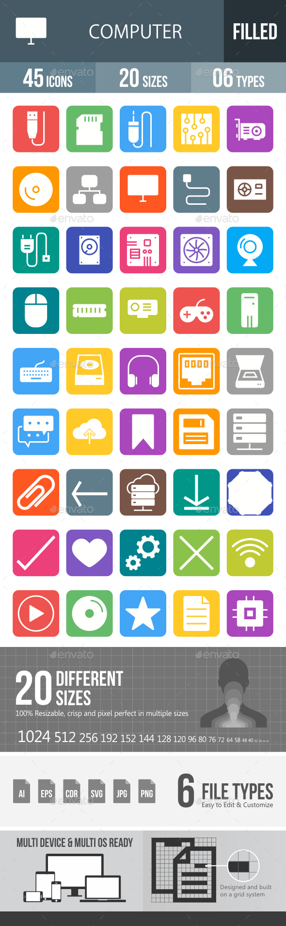 Computer Hardware Glyph Inverted Icons - Icons