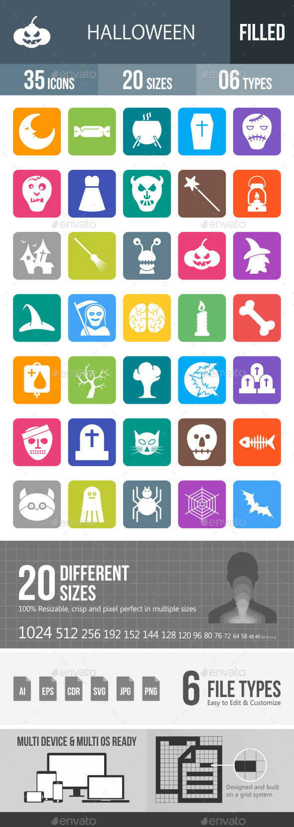 Halloween Glyph Inverted Icons - Icons