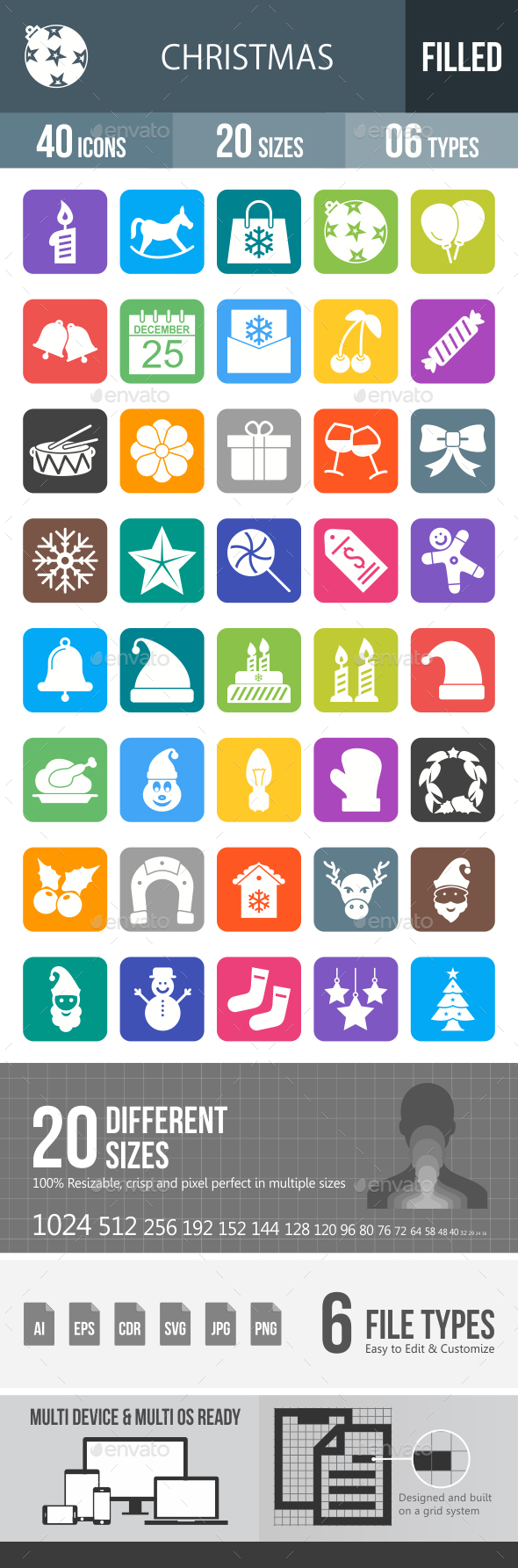Christmas Glyph Inverted Icons - Icons