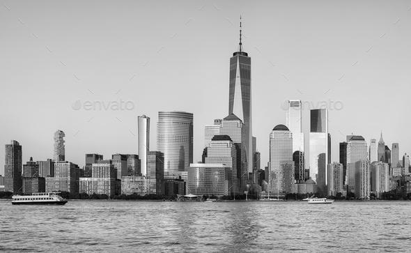 Manhattan waterfront at sunset, New York City. - Stock Photo - Images
