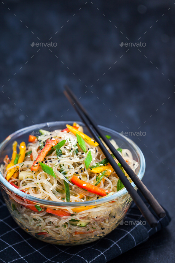 Delicious asian rice glass noodles with vegetables (wok) - Stock Photo - Images