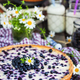 Fresh homemade creamy blueberry tart (open pie) on rustic backgr - PhotoDune Item for Sale