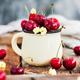 Fresh ripe cherries in a mug on rustic background - PhotoDune Item for Sale