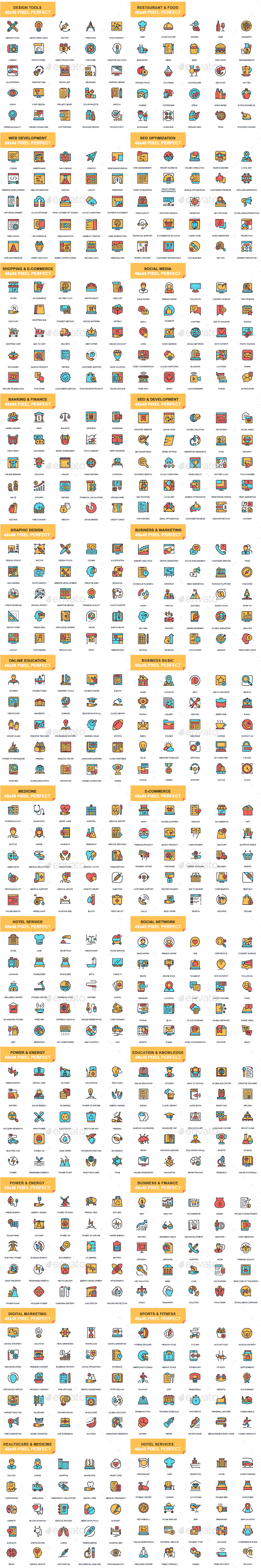 Set of Flat Line Icons - Icons