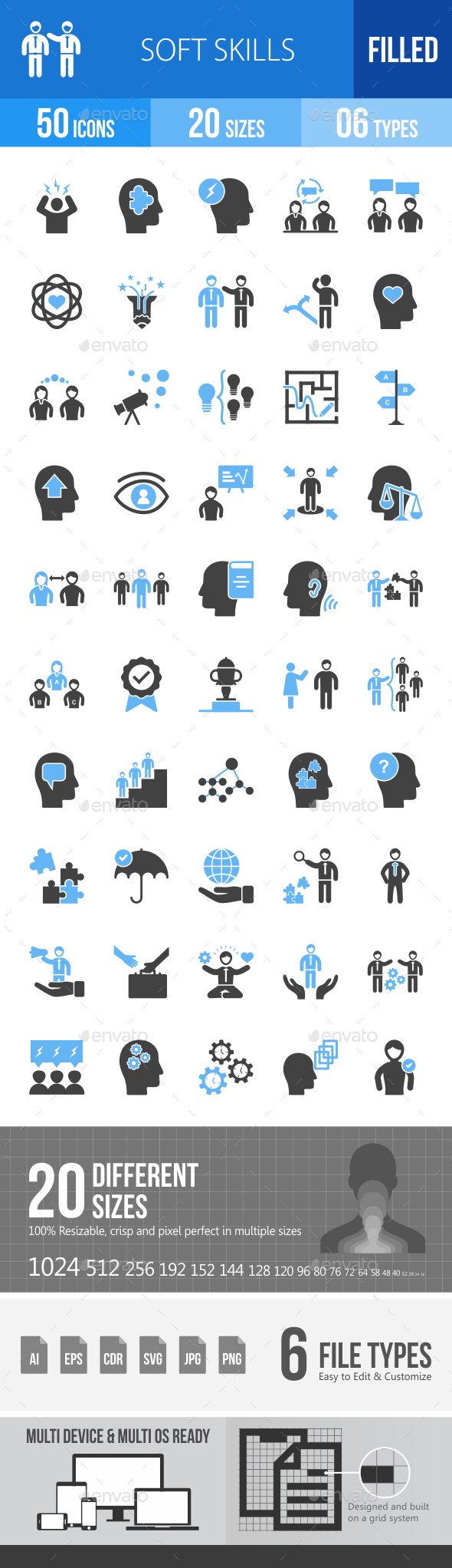 Soft Skills Blue & Black Icons - Icons
