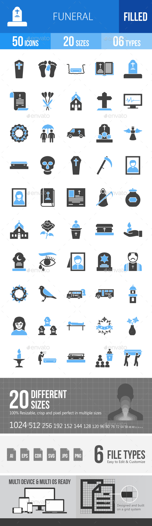 Funeral Blue & Black Icons - Icons