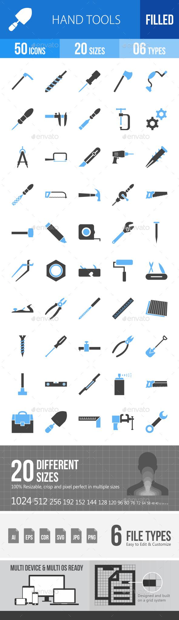 Hand Tools Blue & Black Icons - Icons