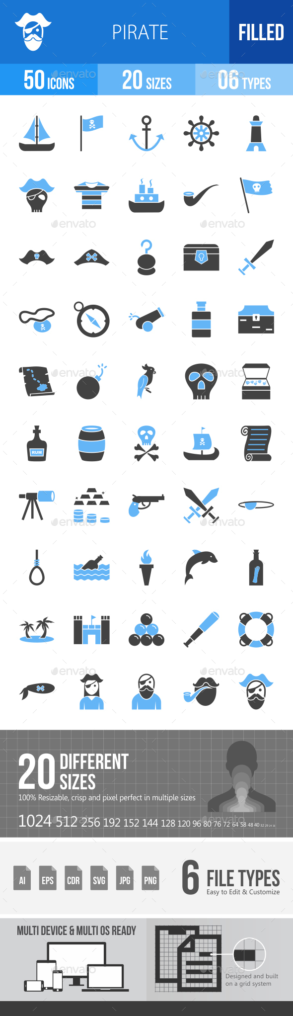 Pirate Blue & Black Icons - Icons
