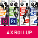 Fitness Rollup Stand Banner Display 4x Indesign and Photoshop Template