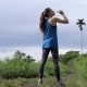 Healthy Lifestyle. Sporty Woman Drink Water During Jogging in Nature Park - VideoHive Item for Sale