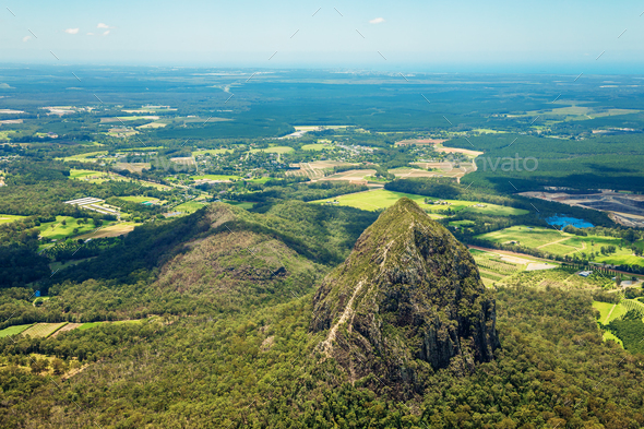 Aerial view of Glasshouse Mountains on the Sunshine Coast, Austr - Stock Photo - Images