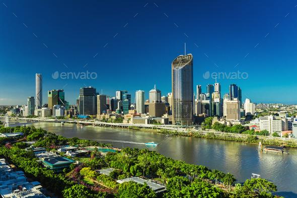 BRISBANE, AUSTRALIA - Dec 29 2016: Panoramic areal image of Bris - Stock Photo - Images