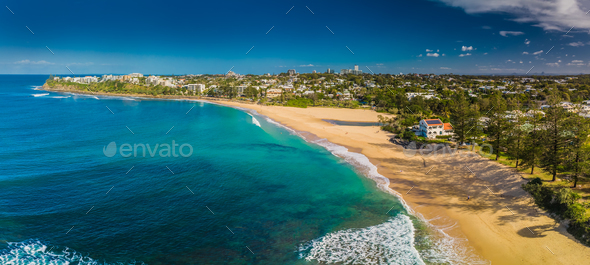 Aerial panoramic images of Dicky Beach, Caloundra, Australia - Stock Photo - Images