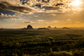 View of Glass House Mountains at sunset visible from Wild Horse - PhotoDune Item for Sale