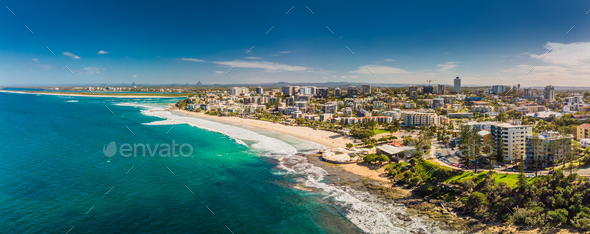 Aerial panoramic image of ocean waves on a Kings beach, Caloundr - Stock Photo - Images