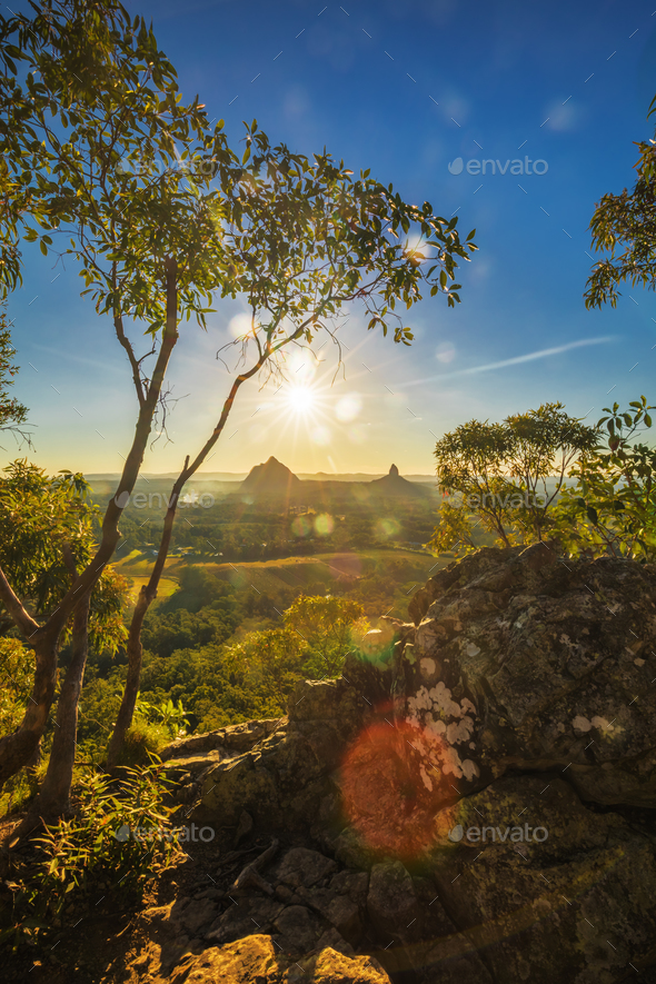 Sunset seen from Mt Tibrogargan, Glass House Mountains, Sunshine - Stock Photo - Images