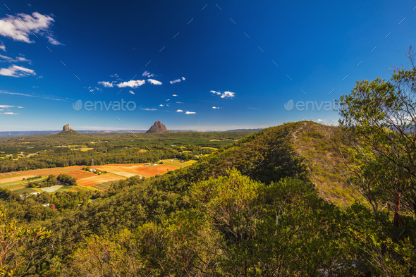 Summit of Mount Coochin, Glass House Mountains, Sunshine Coast, - Stock Photo - Images