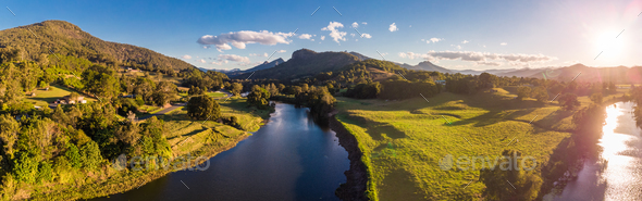 Aerial view of Tweed River and Mount Warning, New South Wales, A - Stock Photo - Images