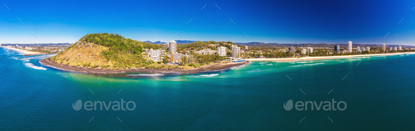 Aerial view of Burleigh Heads - famous surfing beach suburb on t - Stock Photo - Images