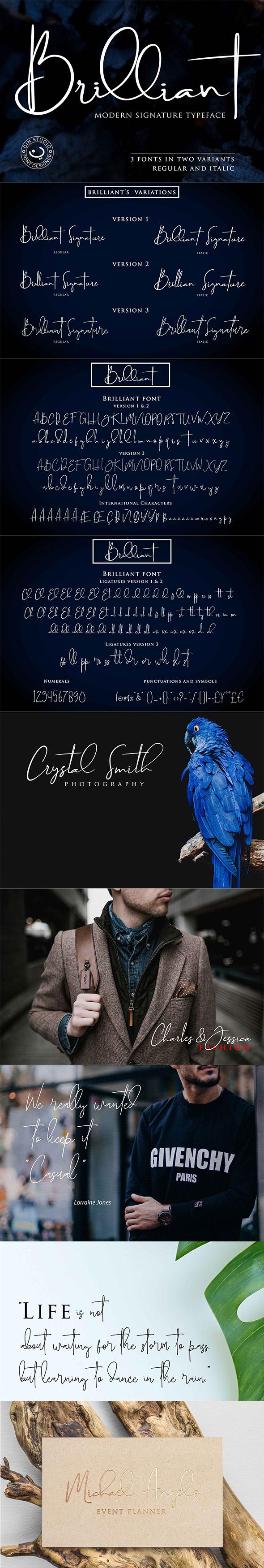 Brilliant - 3 Signature Font - Script Fonts