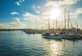 Sunset in yacht marina, Maroochydore, Queensland, Australia - PhotoDune Item for Sale