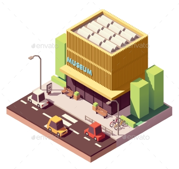 Vector Isometric Museum Building - Buildings Objects