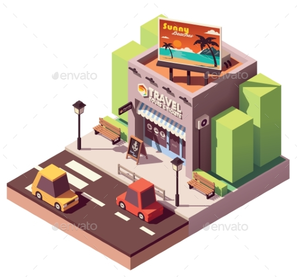 Vector Isometric Travel Agency - Buildings Objects