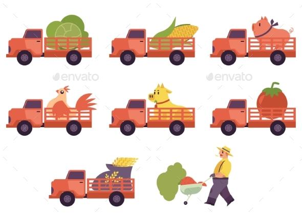 Flat Farmer Truck Pickup Delivering Livestock - Food Objects