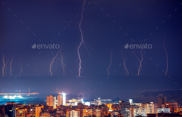 Lightning in night city - Stock Photo - Images
