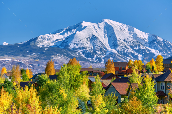 Residential neighborhood in Colorado at autumn - Stock Photo - Images