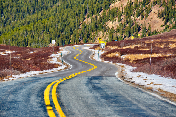 Highway in Colorado Rocky Mountains - Stock Photo - Images