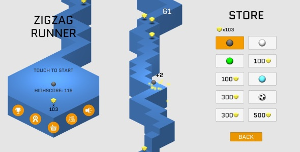 ZigZag Runner Unity3D Game (Admob Ads integrated)            Nulled