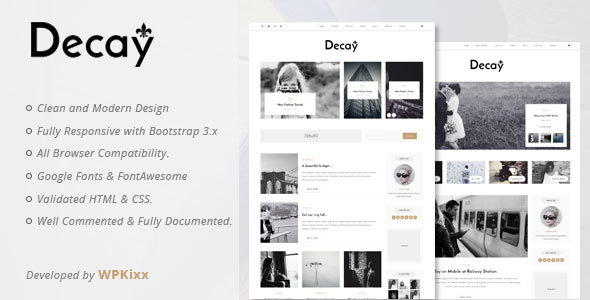 Decay - A Responsive Personal Blog & Woocommerce WordPress Theme