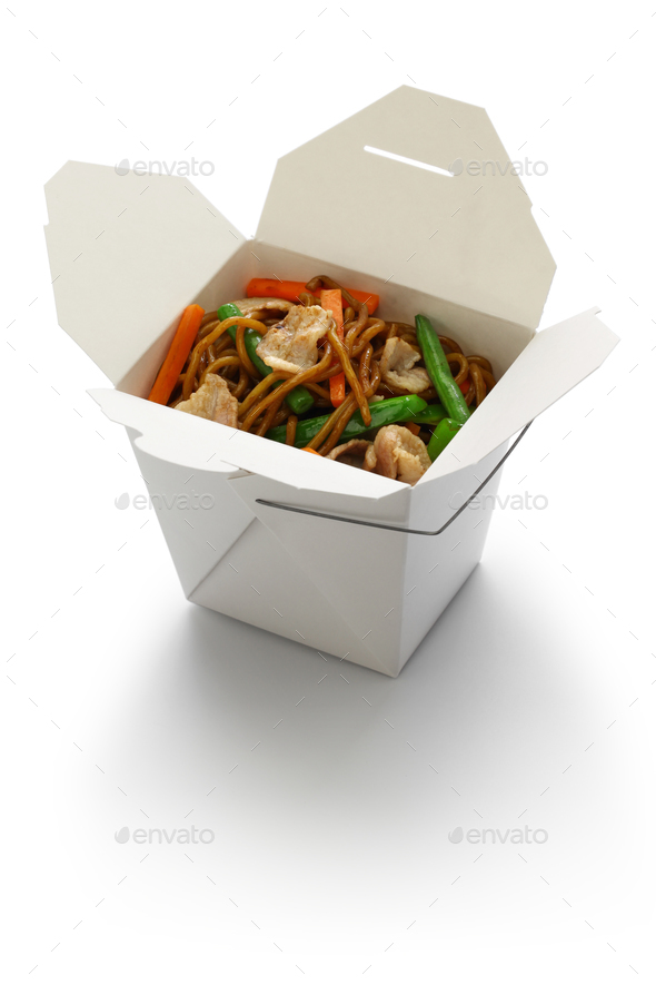 chow mein, take out chinese cuisine - Stock Photo - Images