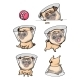 Cartoon Character Pug Dog Poses - GraphicRiver Item for Sale