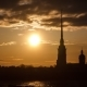 Peter and Paul Cathedral on the Background of the May Sunset. Saint Petersburg - VideoHive Item for Sale