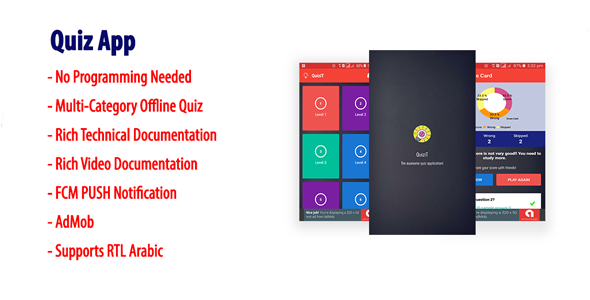 QuiziT | Native Android Multi-Category Quiz App with AdMob & FCM PUSH Notification            Nulled