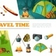 Cartoon Travel Camping Elements Set - GraphicRiver Item for Sale