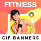 Fitness Animated GIF Web Banner Set - GraphicRiver Item for Sale