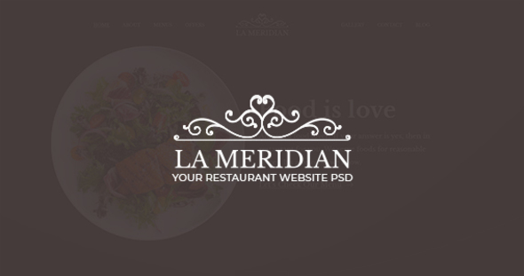 La Meridian - Restaurant Website PSD Template - PSD Templates