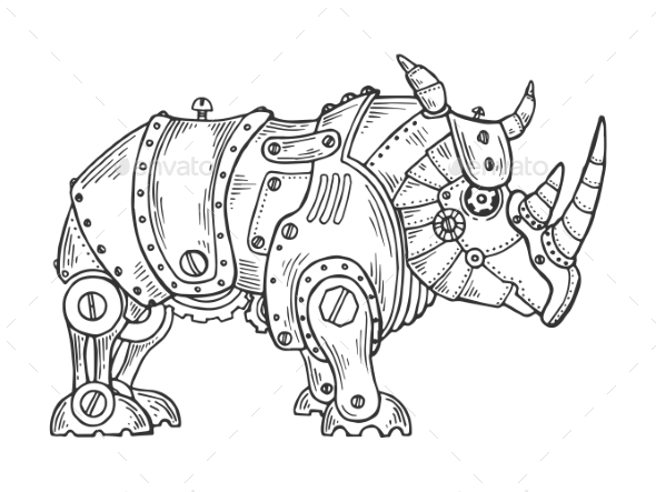 Mechanical Rhinoceros Animal Engraving Vector - Miscellaneous Vectors