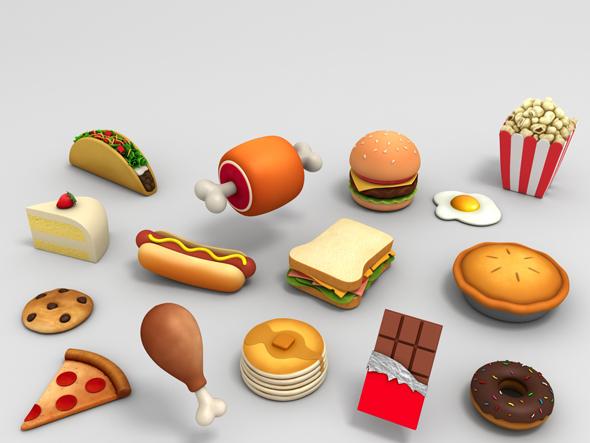 Cartoon Food Pack 3D model - 3DOcean Item for Sale