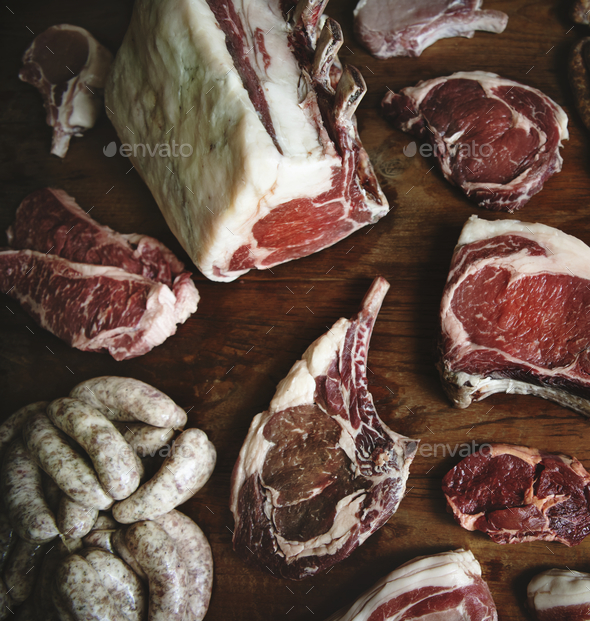 Cuts of beef food photography recipe idea - Stock Photo - Images
