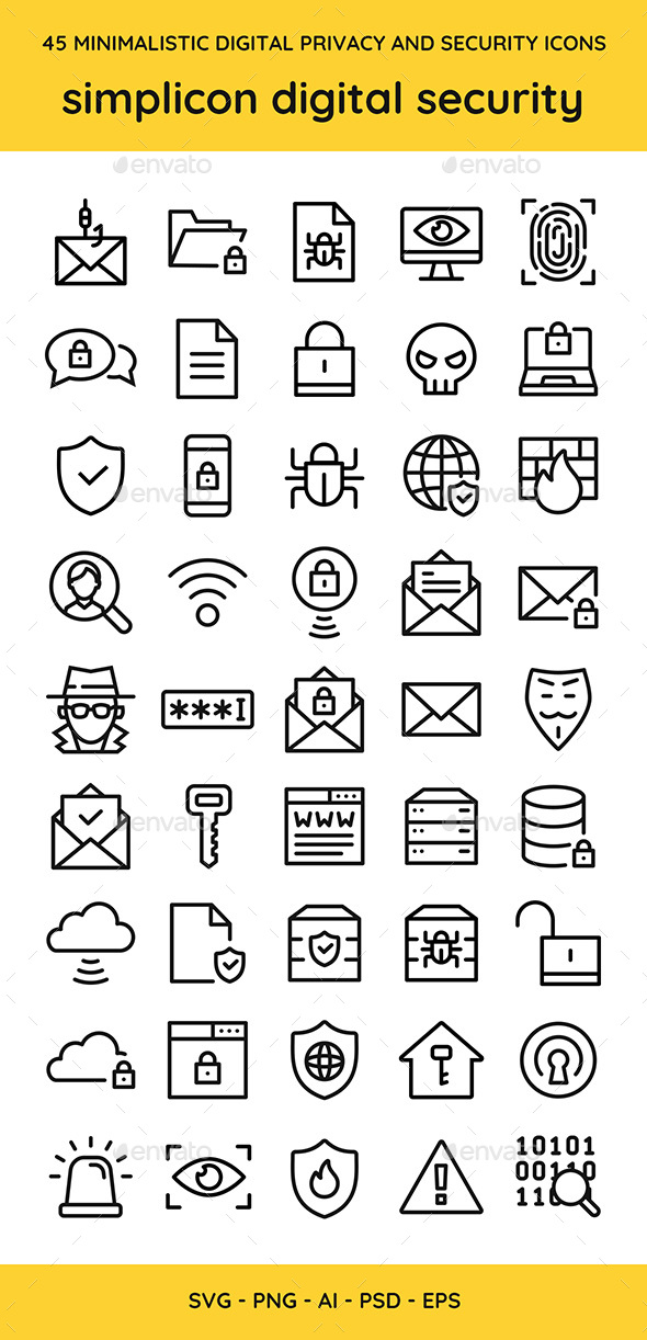 45 Digital Privacy & Security Vector Icons - Web Icons