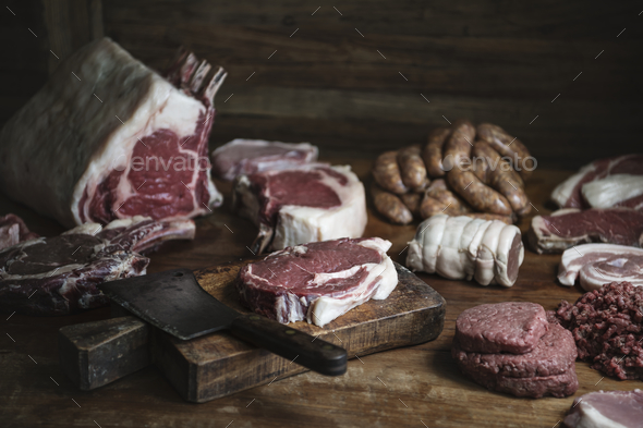 Different types of meat food photography recipe idea - Stock Photo - Images