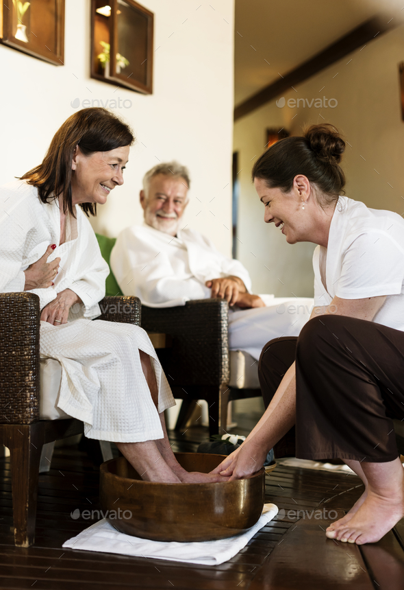 Senior couple relaxing with a spa treatment - Stock Photo - Images