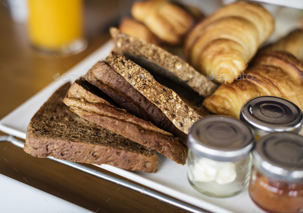 Homemade pastries at a hotel breakfast - Stock Photo - Images