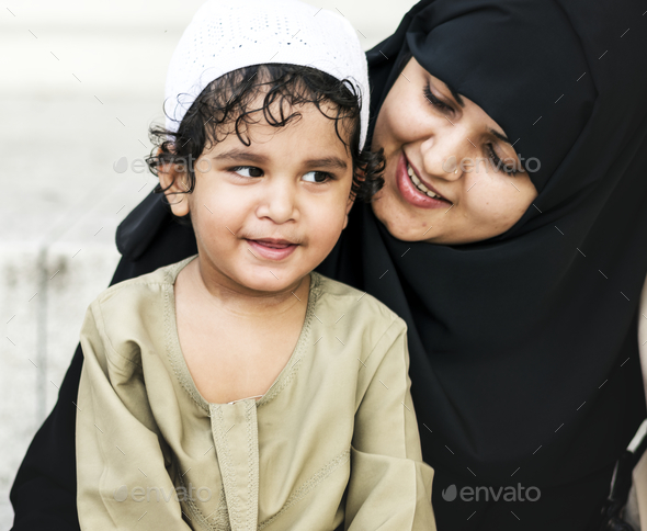 Muslim mother and her son - Stock Photo - Images